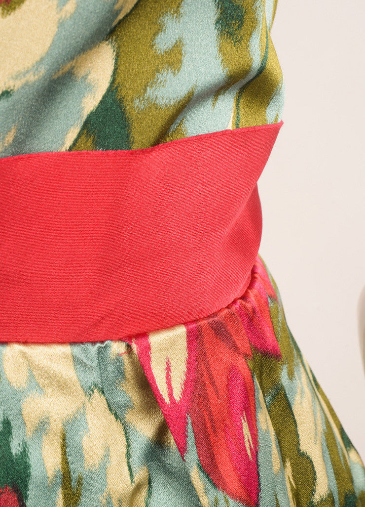 Lanvin Green, Pink, and Red Floral Print Sleeveless Pleated Dress Detail