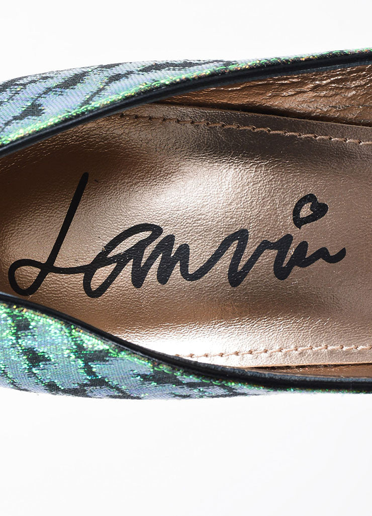 Green Lanvin Iridescent Brocade Pointed Toe Platform Pumps Brand