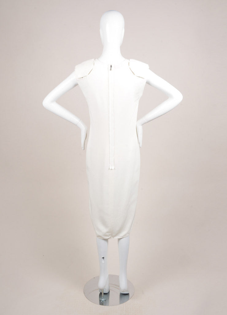 Lanvin White Sleeveless Padded Shoulder Slit Midi Column Dress Backview