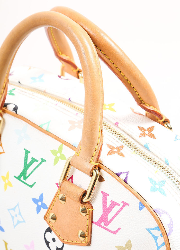 "Louis Vuitton White and Multicolor Monogram Canvas ""Trouville"" Satchel Bag Detail 2"