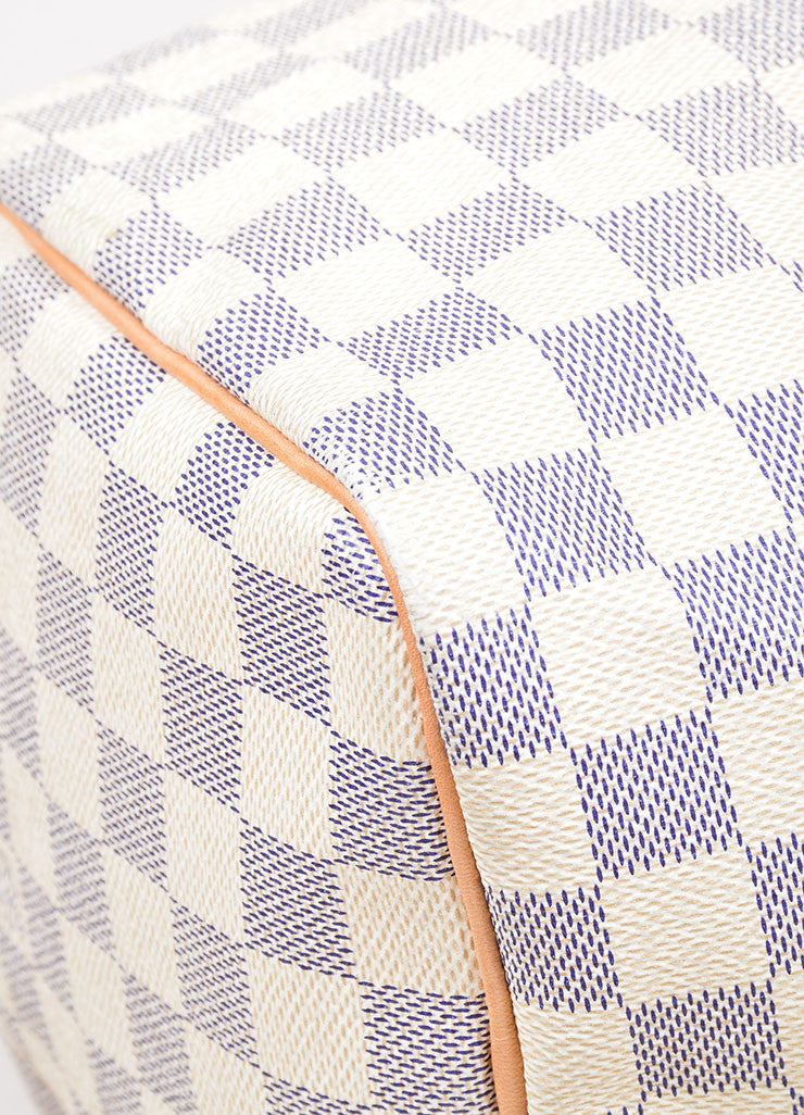 "Cream and Blue Coated Canvas and Leather ""Damier Azur Speedy 30"" Bag Detail"