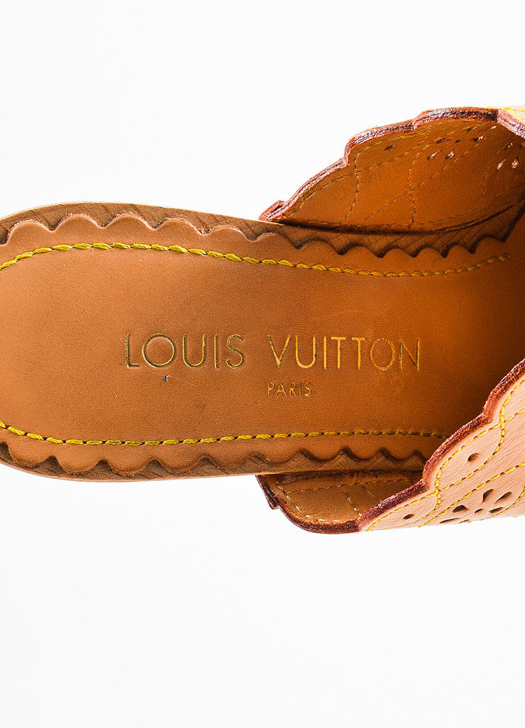 Beige Louis Vuitton Leather Eyelet and Top Stitch Clogs Brand