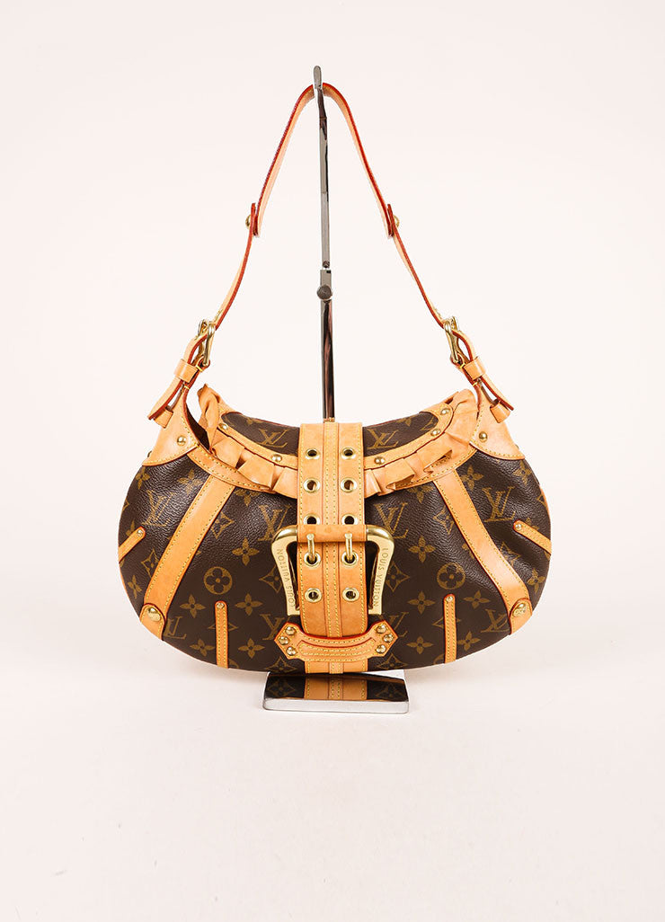 "Louis Vuitton Brown and Tan Coated Canvas and Leather Monogram ""Leonor"" Shoulder Bag Frontview"