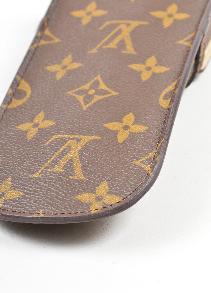 Brown and Tan Louis Vuitton Coated Canvas Monogrammed Sunglass Holder Case Detail