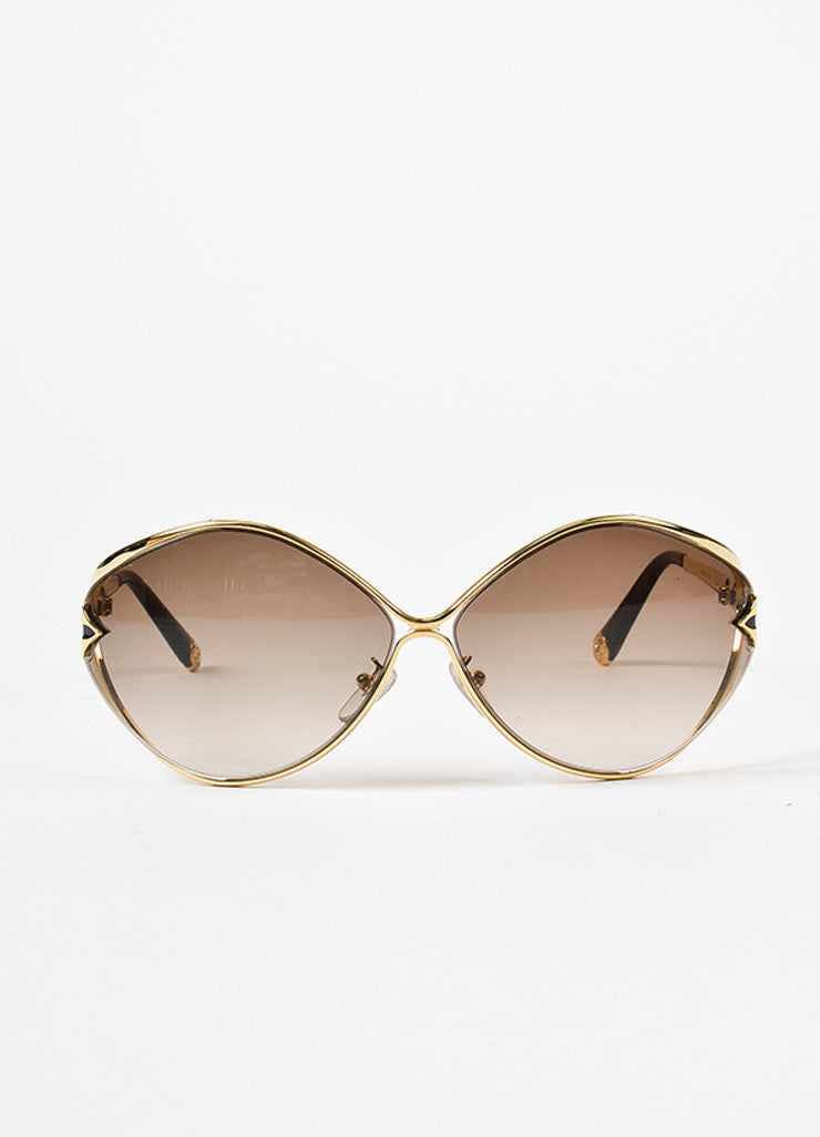 "Louis Vuitton Gold Toned and Brown Glitter ""Laurel"" Sunglasses Frontview"