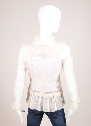Louis Vuitton Light Pink Silk Ruffle Ribbon Trim Sheer Long Sleeve Blouse Backview