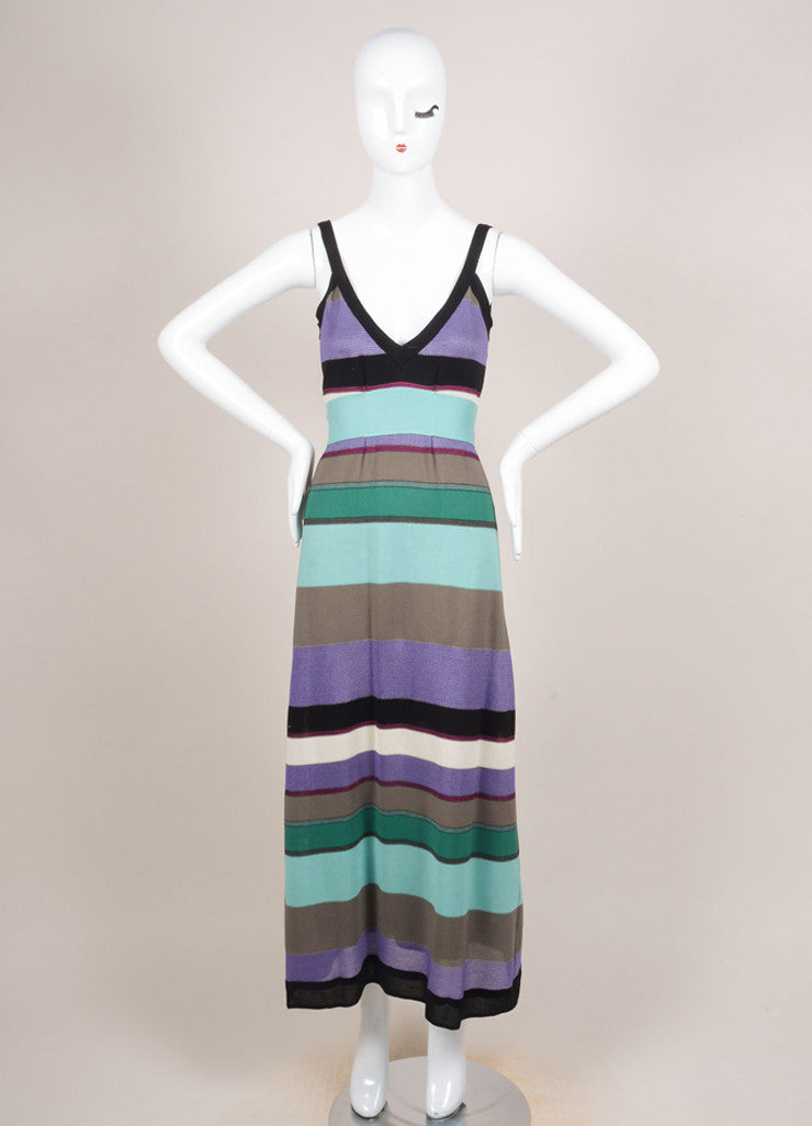 M Missoni Multicolor Stripe Knit Sleeveless Empire Waist Dress Frontview