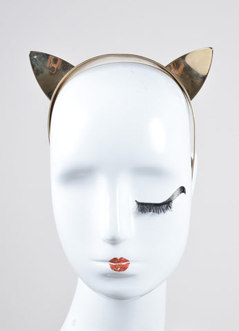 "Maison Michel Gold Toned Cat Ear ""Yoko"" Headband Frontview"