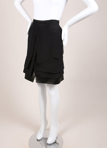 Maiyet New With Tags Black Silk and Leather Layered Slit Mini Skirt Sideview