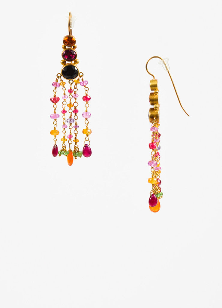 Mallary Marks 22K and 18K Yellow Gold Multicolor Pink Gemstone Chandelier Earrings Sideview