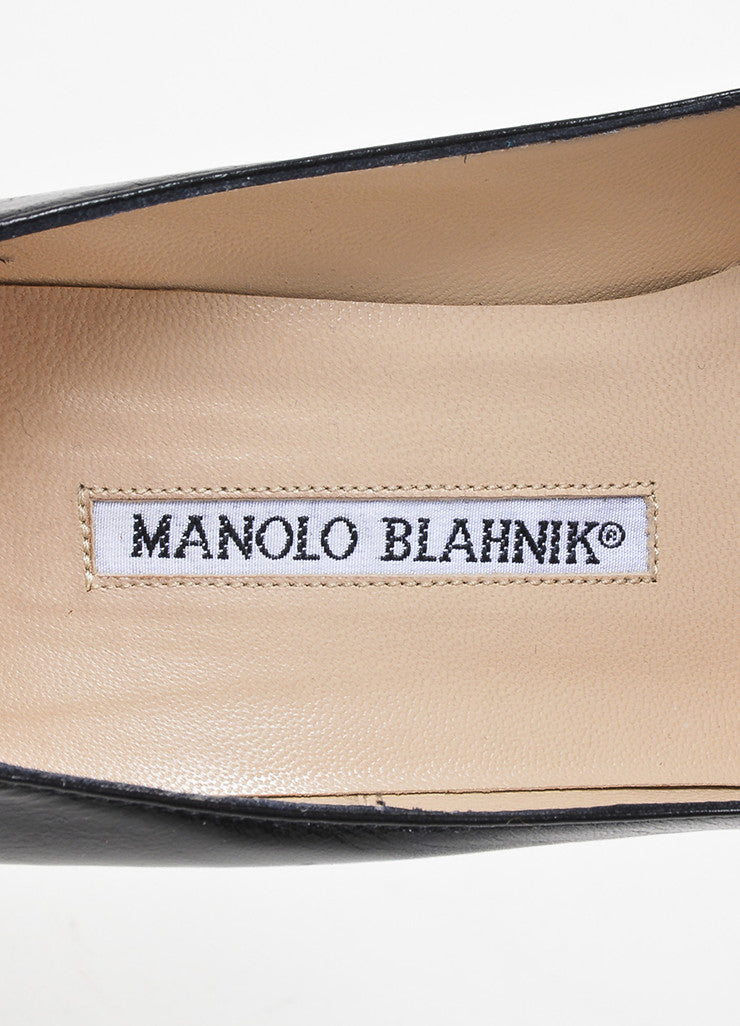 Manolo Blahnik Black Leather Patent Pointed Cap Toe Ankle Strap Pumps Brand