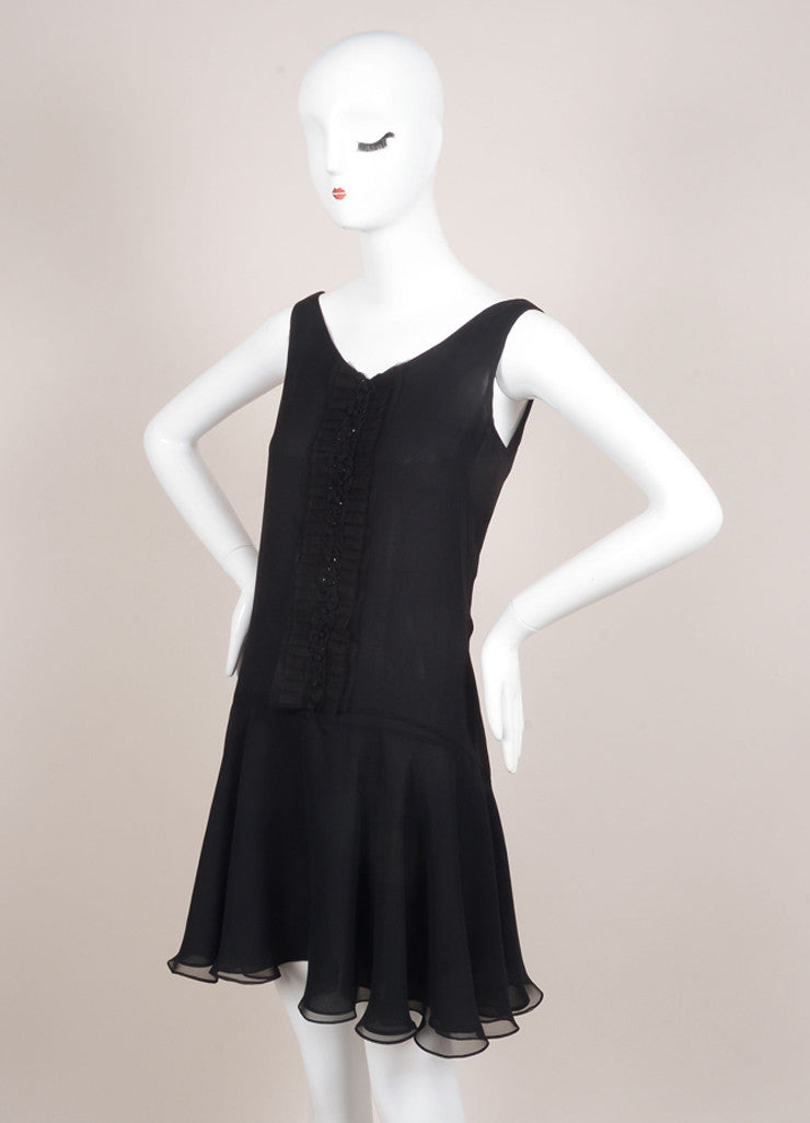 Marchesa Notte Black Silk Beaded Sleeveless Swing Dress Sideview