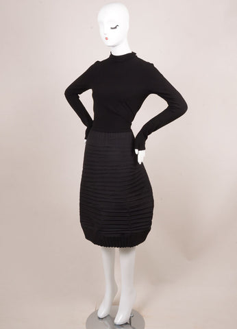 Marie Saint Pierre Black Stretch Knit Contrast Pleated Turtleneck Dress Sideview
