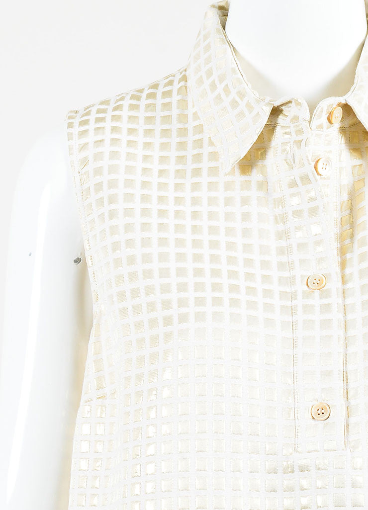Marni Cream and Gold Metallic Cotton Blend Check Sleeveless Patch Pocket Tunic Top Detail