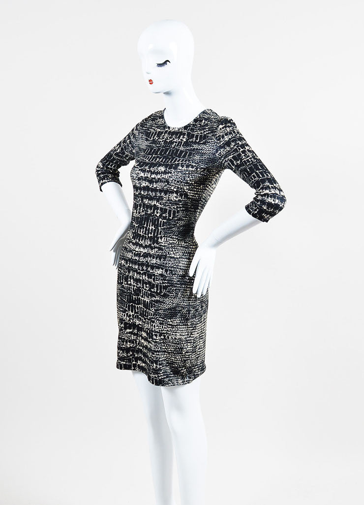 í_í_Œ¢í_?çí_í_McQ by Alexander McQueen Black and Cream Cotton Jersey Croc Print Long Sleeve Bodycon Dress Sideview