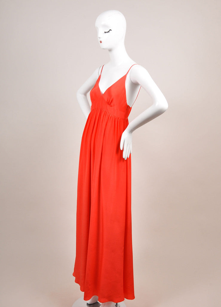 Miguelina New With Tags Poppy Red Sulma Silk Maxi Dress Sideview