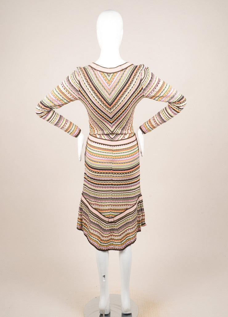 Missoni Multicolor Wool Blend Knit Long Sleeve A-Line Dress Backview