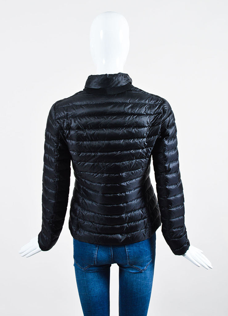 "Black Moncler Nylon Down Quilted ""Leyla"" Puffer Jacket Backview"