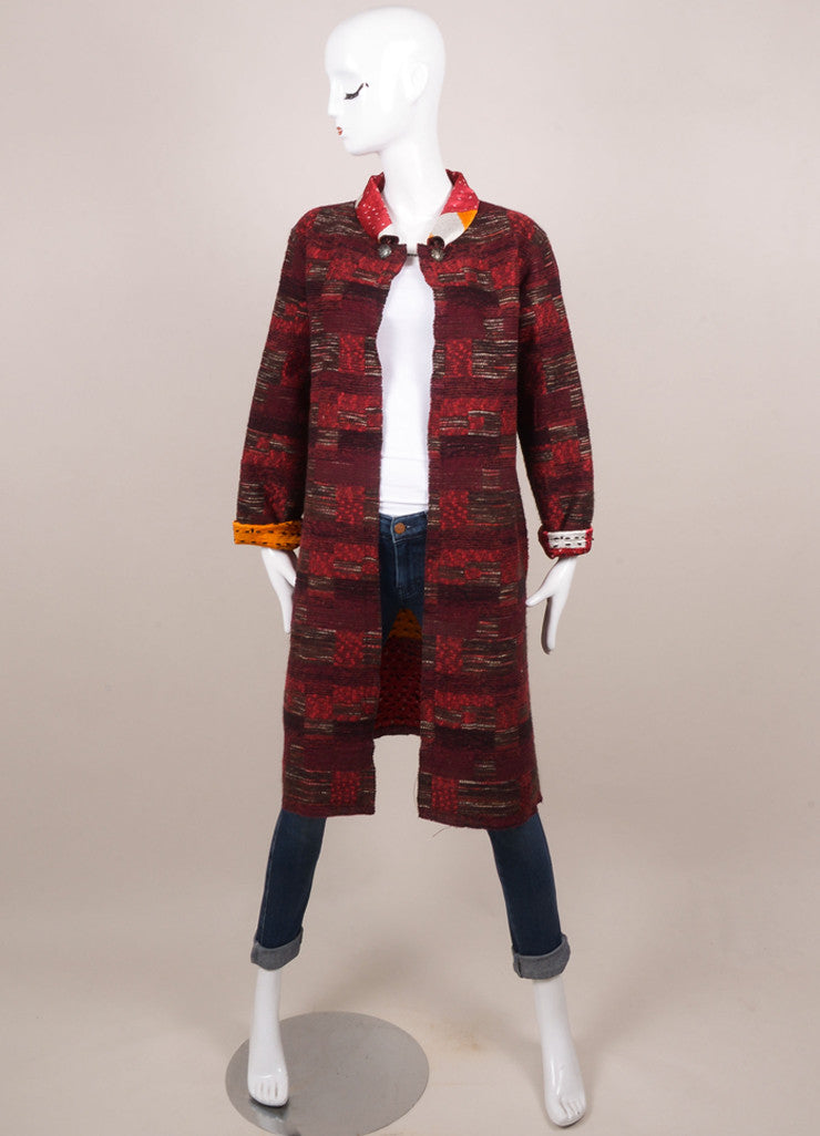 Oscar de la Renta Red Wool and Silk Tweed Reversible Coat Frontview 2