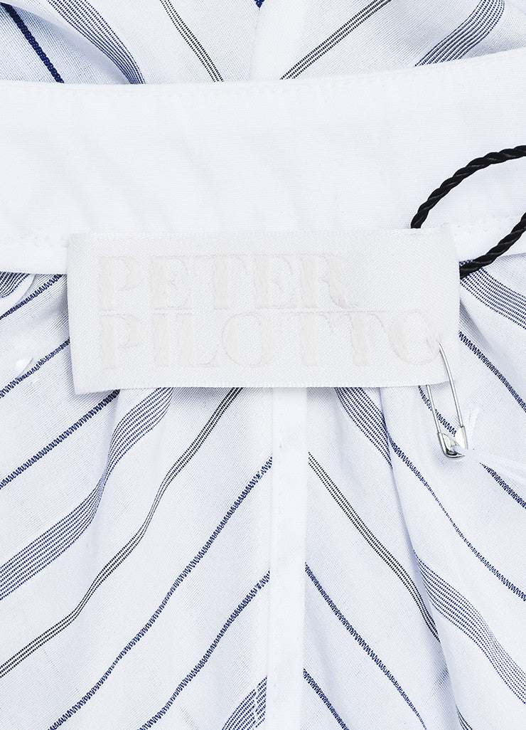 "Peter Pilotto White and Blue Cotton Stripe Smocked ""Step"" Short Sleeve Dress Brand"