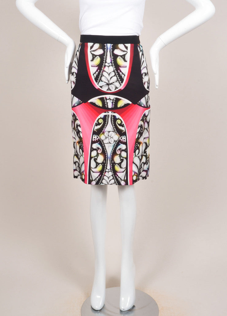 "Peter Pilotto New With Tags Multicolor Abstract Print ""Eleni"" Pencil Skirt Frontview"