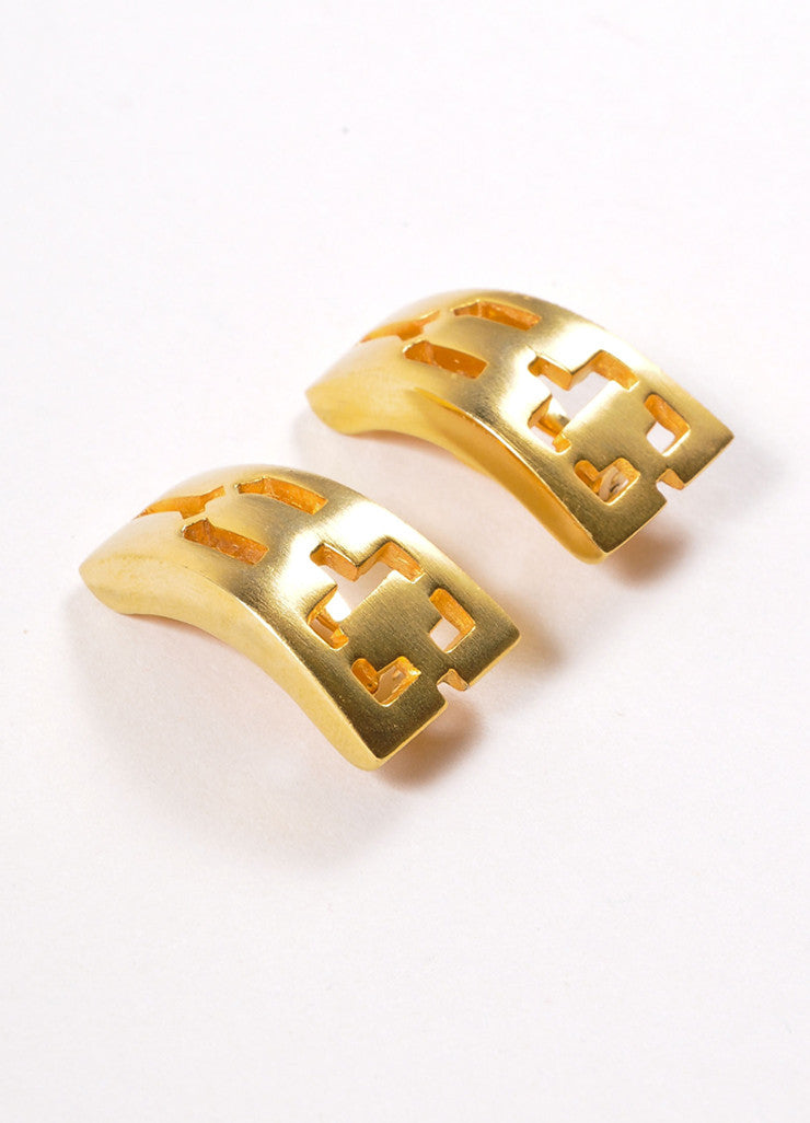 Pierre Cardin Gold Toned Curved Rectangular Cut Out Earrings Sideview