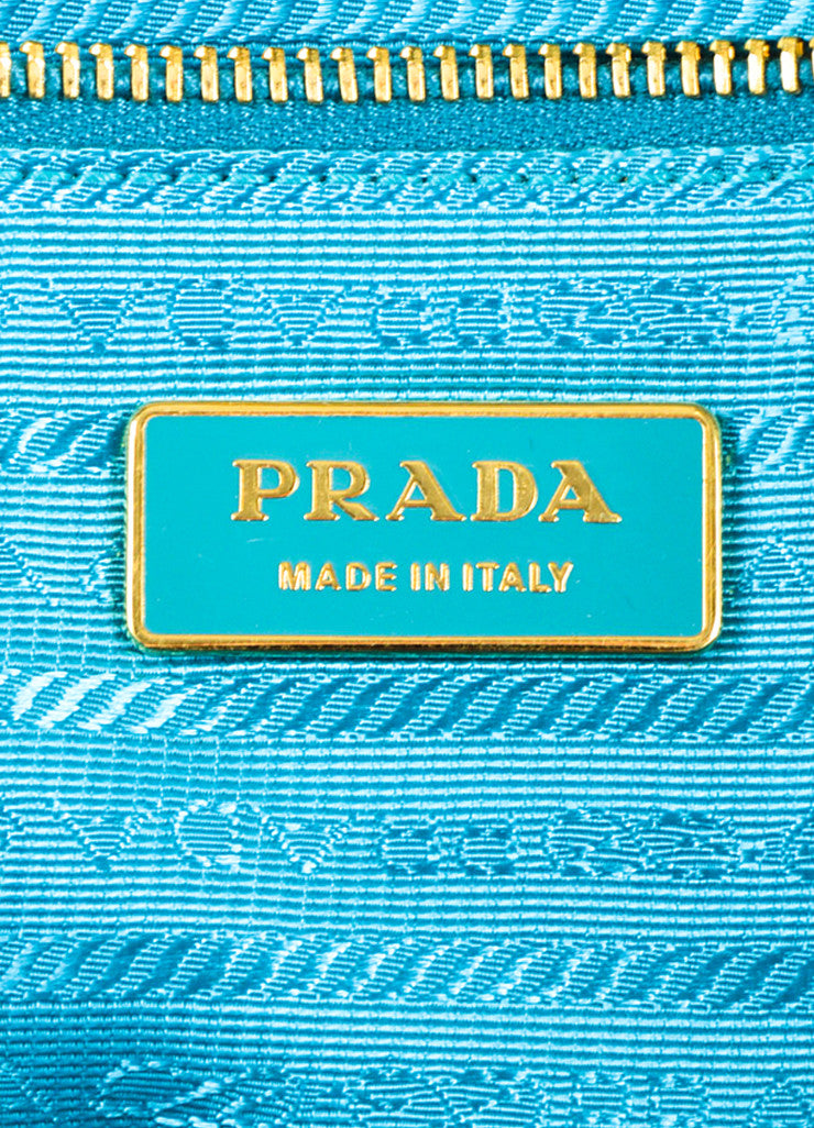 Prada Green, Teal, and White Tessuto Nylon Leather Trim Woven Tote Bag Brand