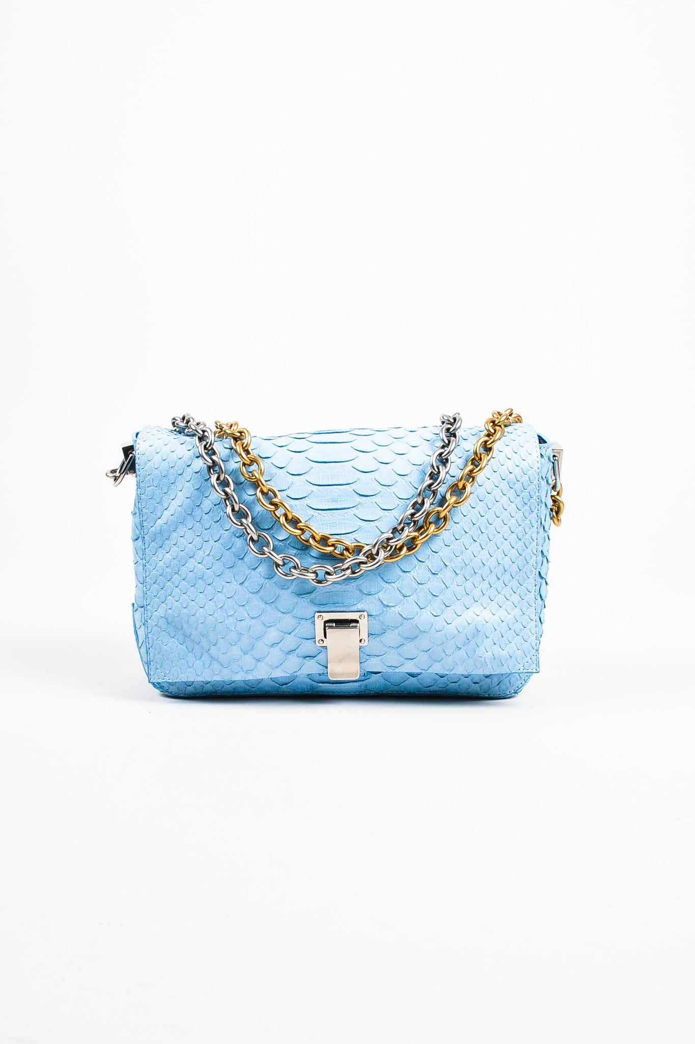 "Proenza Schouler Blue Python Two Tone Chain Shoulder Strap ""Small Courier"" Bag Frontview"