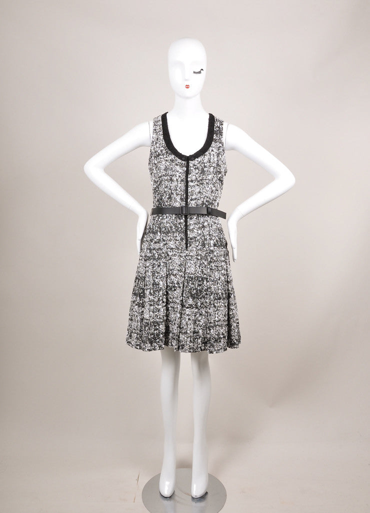 Proenza Schouler New With Tags Black and White Pleat Drop Waist Tweed Belted Dress Frontview