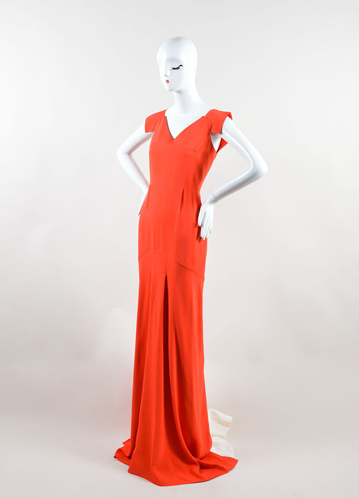 "Roland Mouret Red Cream Sleeveless ""Phoenix"" Gown Side"