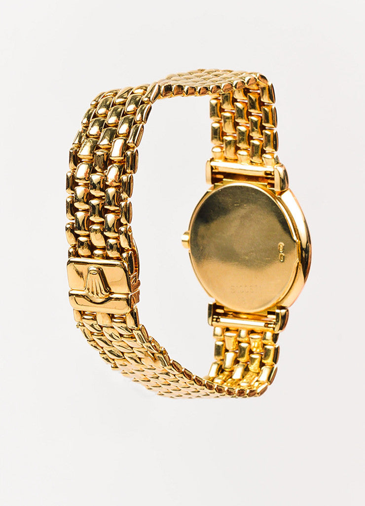 "Rolex 18K Yellow Gold ""Cellini"" Woven Bracelet Quartz Watch Backview"