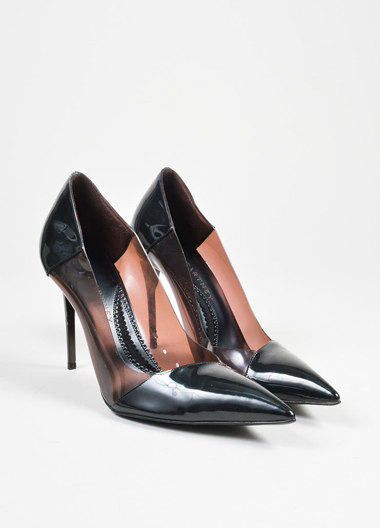 Black and Maroon Patent and Clear Stella McCartney Pointed Toe High Heel Pumps Frontview