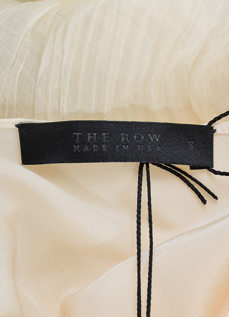 "The Row Cream Silk Chiffon Micro Pleated Long Sleeve ""Mahdan"" Top Brand"