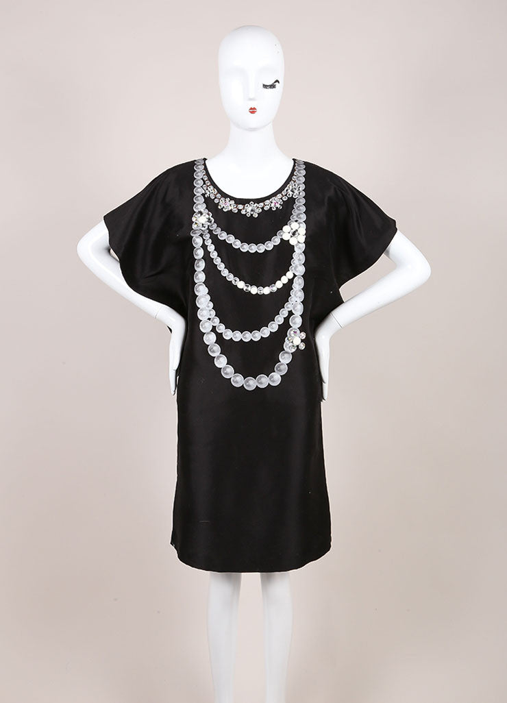 Tsumori Chisato New With Tags Black Beaded Necklace Print Dress Frontview