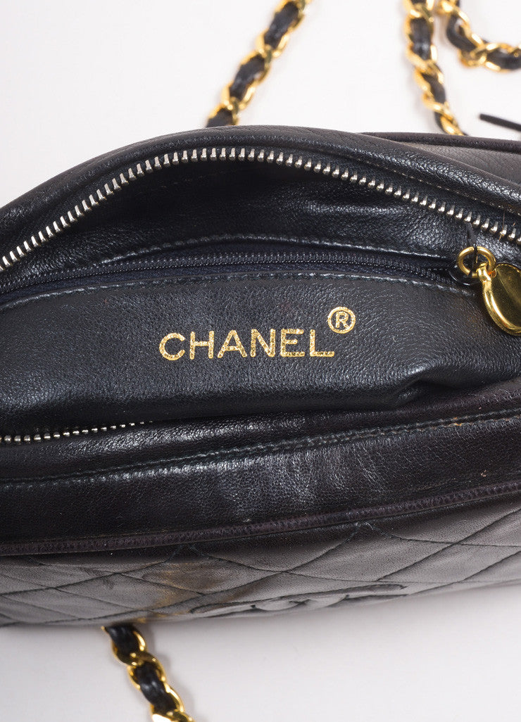 "Chanel Black Quilted Lambskin ""CC"" Tassel Chain Strap Shoulder Bag Brand"