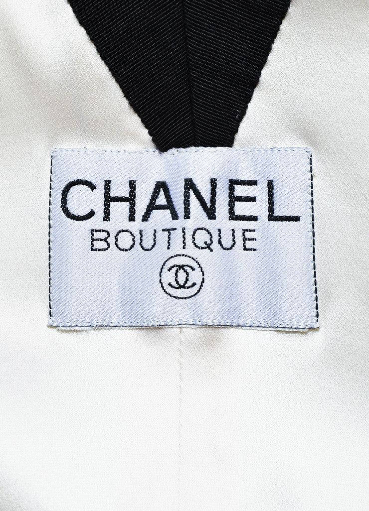 Chanel Boutique Black & White Sequined 'CC' Button Structured Jacket Brand