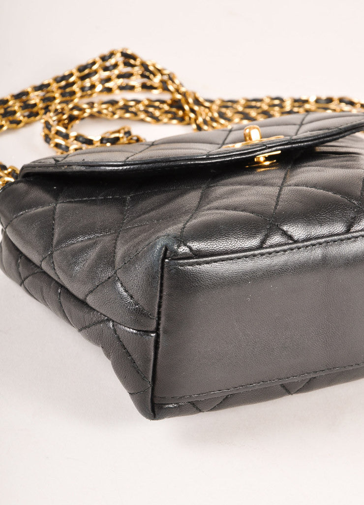 "Chanel Black and Gold Toned Quilted Leather ""CC"" Turnlock Chain Strap Mini Flap Bag Detail"