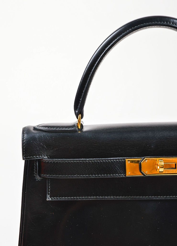 "Hermes Black Box Calf Leather ""Kelly"" Flap Handbag Detail 2"