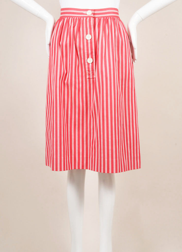 Saint Laurent Red and White Tweed Knit Pinstripe Pleated Skirt Frontview