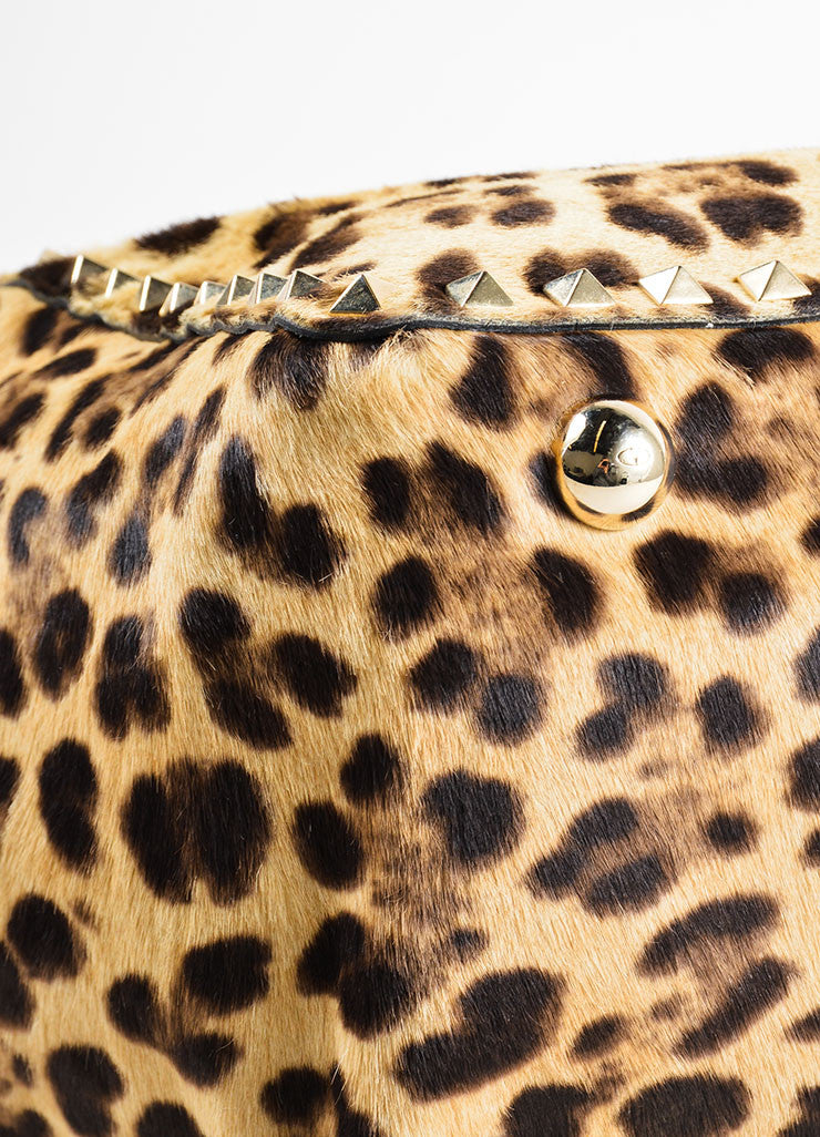 "Valentino Brown Leopard Print Pony Hair Leather ""Rockstud"" Tote Bag Detail"