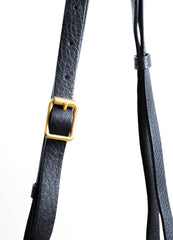"Black and Gold Toned Grain Leather Valentino ""Eye On You"" Shoulder Bag Detail 2"
