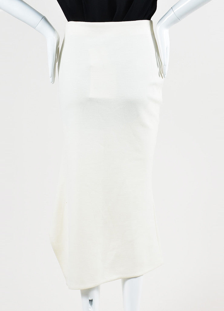 Cream Victoria Beckham Wool Asymmetrical Vent Pencil Midi Skirt Backview
