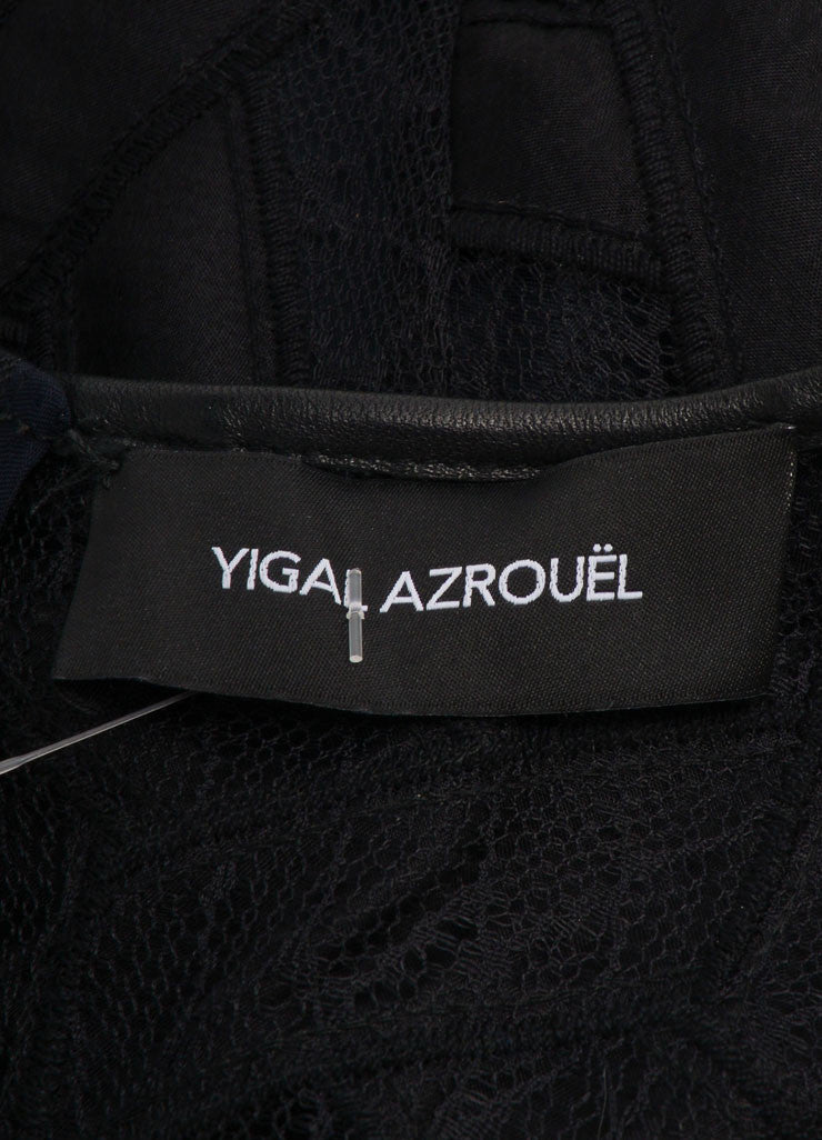 Yigal Azrouel New With Tags Black Leather Trim Lace and Mesh Two Way Zip Dress Brand