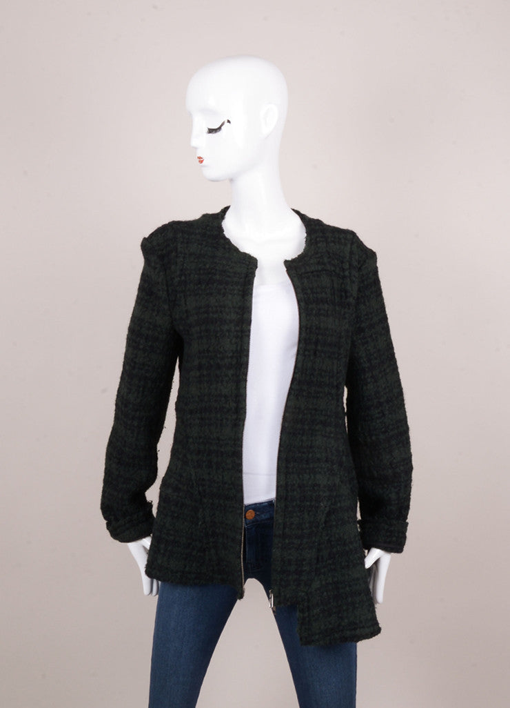 Black and Green Wool Textured Knit Wool Swing Jacket