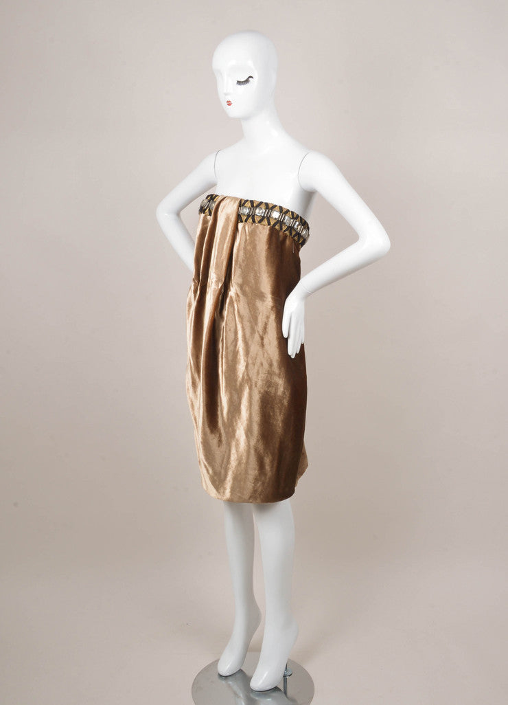 Gianfranco Ferre Tan Bead Embellished Strapless Dress