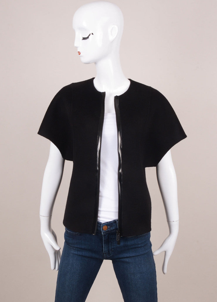 New With Tags Black Minimalist Short Sleeve Zip Up Felted Wool Jacket