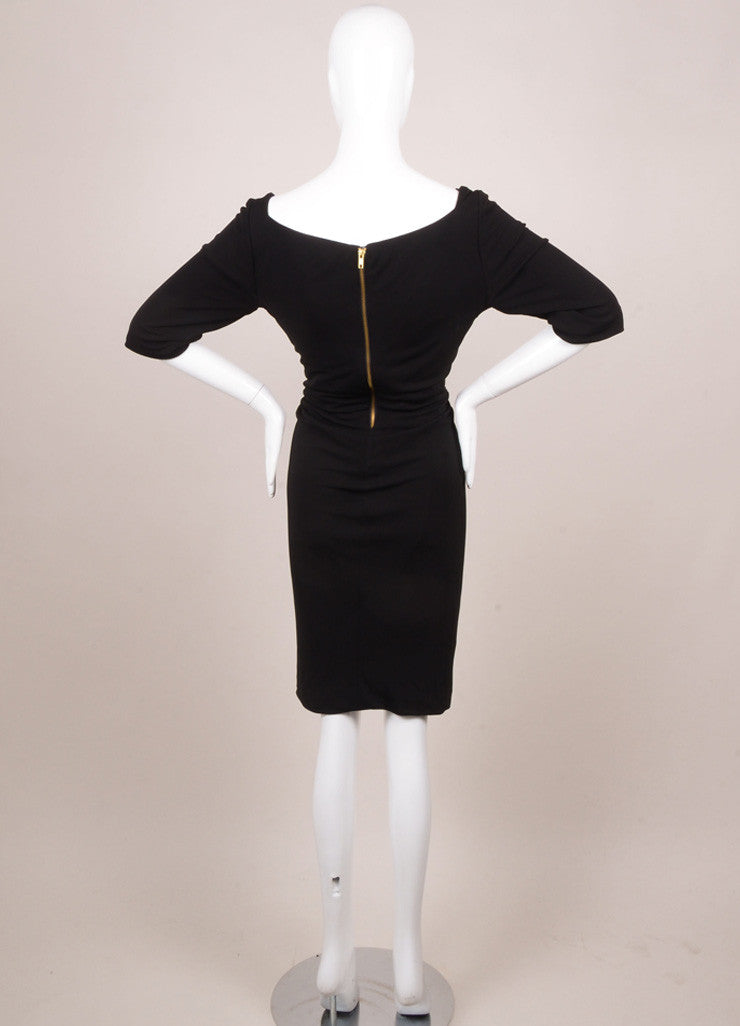 Kevan Hall Black Leather Embellishment Mesh Detail Half Sleeve Dress Backview