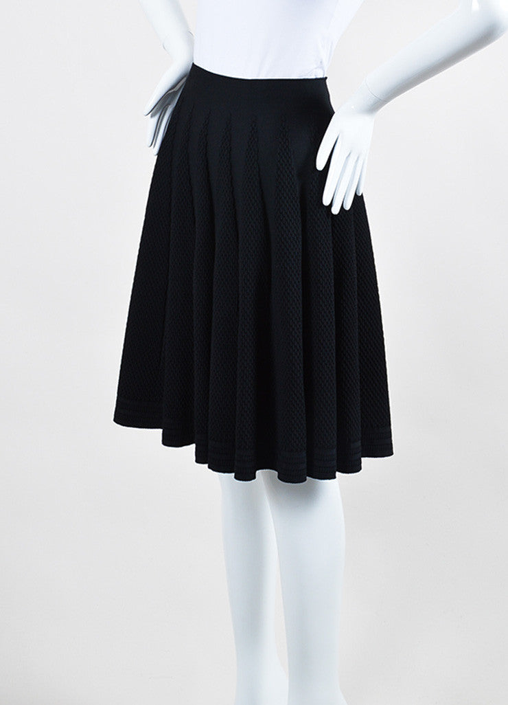 Black Alaia Stretch Crepe Textured Knit A-Line Flared Skirt Sideview