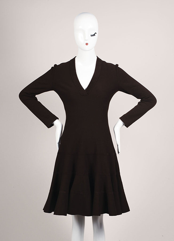Alaia Brown Wool Blend Long Sleeve V-Neck Flounce Sweater Dress Frontview