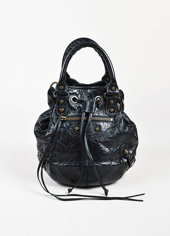"Balenciaga Black Leather Drawstring ""Classic Mini Pompon"" Bucket Bag Frontview"